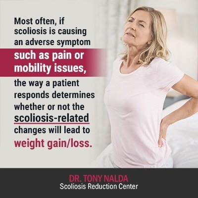 most often if scoliosis is causing
